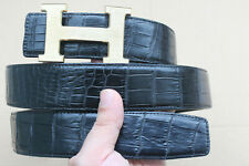 Black Genuine Alligator ,Crocodile Belly Leather Skin Men's Belt - W 1.5 inch