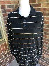 Jos. A. Bank Travelers Collection Men's Sz L Black/White Striped Polo Shirt
