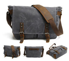 Mens Canvas with Leather School Satchel Shoulder Laptop Cross Body Messenger Bag