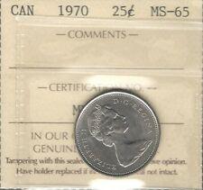 1970 Twenty-Five Cents ICCS MS-65 GEM BU ** STUNNING Elizabeth II Canada Quarter