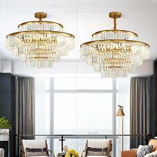 Modern Chandelier Crystal Clear Ceiling Light Pendant Lamp 80CM 12W