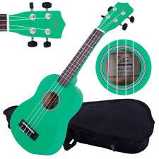"21"" Green Soprano Ukulele Guitar Basswood 12 Frets Hawaiian Instrument w/ Bag"