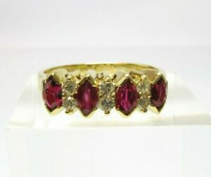 VINTAGE 18CT GOLD RUBY AND DIAMOND RING
