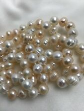 Freshwater Pearl Necklace Long  Cream, Pink 34 inch Hand Knotted Potato Shape