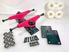 Pilot 7, 5.0 Inch Pink Black Skateboard Trucks, Wheels, Bearings Combo Set