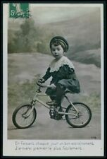 Child Boy Cap Small Bicycle Cycling Bike Sport original old 1910s photo postcard