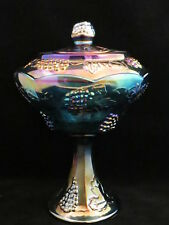 1950's Indiana Iridescent Blue Carnival Glass Harvest Grape Wedding Bowl,Compote