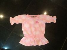 Juicy Couture New Pink & White Cotton Long Sleeve Dress Top Baby Girl 6/12 MTHS