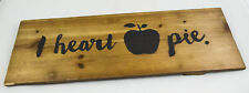 """I Heart Apple Pie Red Shed Hanging Wood Sign 20"""" x 10"""" x 1"""" New Original"""