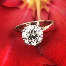 4.00 Ct Moissanite Wedding Ring Real 18K White Gold VVS1 Diamond Rings Size P