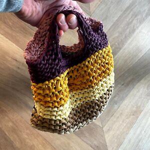Hand Made Knitted String Bag, Multi-Coloured, 30cm wide, Hippy, Handbag, Retro