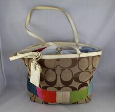 Coach Retired Signature C Vintage Purse Canvas Tote Bag Tan and Multi Color