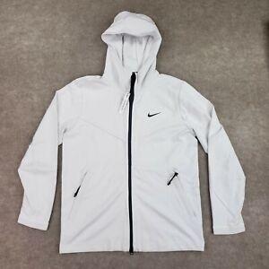 Nike Tech Pack Hooded Jacket Mens White Pockets Full Zip Long Sleeve M New