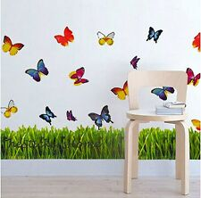 Colourful Butterflies Grass Art Decal Wall Stickers Paper Decor Kids Room Lounge