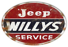 Jeep Willys Garage Shop Metal Sign 11x18 Oval