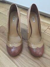 MIU MIU Patent Leather Brogue-Style Pumps, Nude/Pink, EU 39.5 UK 6.5