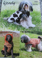 Wendy Knitting pattern 5959 for Dog Coat in chunky yarn. S, M, L sizes.