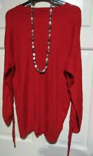 NEW RED RIBBED TIE DETAIL LONG JUMPER SIZE 18 F&F