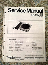 Original Technics SP-10 MKII Turntable Service Manual FREE SHIP to USA/CANADA