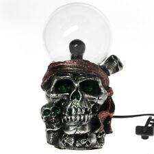 Pirate Skull with Bandana Plasma Ball Lighting Gothic Skeleton Figurine Statue