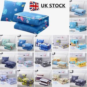 UK 2 In 1 Foldable Cushion Blanket Throw Pillow Quilt Home Office Sofa Waist Pad