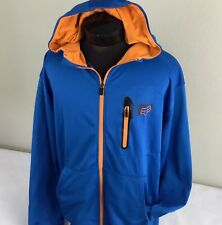 FOX Racing Hoodie Sweatshirt Full Zip Jacket Blue Orange Logo Men XL Motorcross