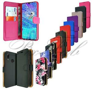 For Huawei Y6 Pro 2019 New Black Leather Book Wallet Phone Case + Screen Glass