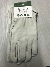Briers Lined Hide Soft Leather Comfortable Gardening Gloves, White, MEDIUM Y41