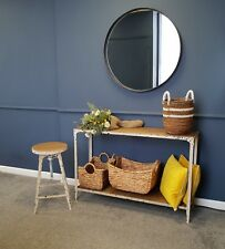 Extra large Circular Mirror with Pewter coloured metal frame, artisan product