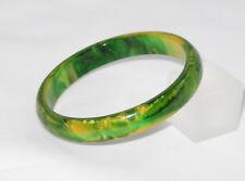Vintage Bakelite Bracelet Bangle Spacer rare green creamy spinach marble color