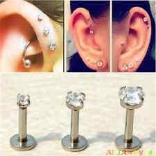 Man Women PunkSmall/Big Piercing Earring Rhinestone Ear Stud Stainless Steel 1PC