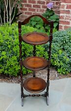 Antique English 3-Tier Oak Barley Twist Pie Pastry Muffin Cake Stand Table