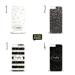 Personalised Name Initials Gold Spots Dots e07 hard plastic phone case