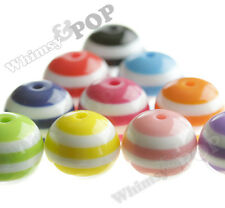 20mm - 12pcs Mixed Color Striped Bubble Gum Beads Chunky Acrylic Round Gumball