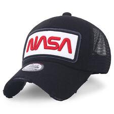 4d93412b27a NASA Baseball Caps Worm Logo Embroidery Mesh Snap Back Trucker Hat (medium