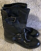 Steve Madden Temmpt Ankle Boots Size 8M Womens Black Leather Buckle Moto Boots