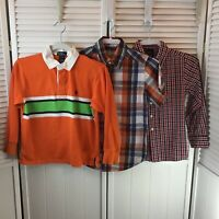 Lot of 3 Boys Shirts Polo Ralph Lauren PLACE George Plaid Orange Red Size 8