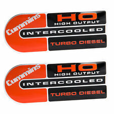 (2) Cummins High Output Intercooled Red & Black Turbo Diesel Emblems HO