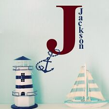 Boy Name Wall Decals Monogram Decal Anchor Stickers Nautical Nursery Decor T35
