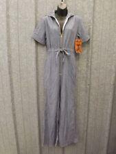 NOS Vtg 1970s 50/50 Denim HICKORY STRIPE JUMPSUIT 13/14 Bell Flare Sailor Collar