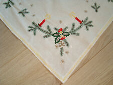 Vintage Christmas Tablecloth with embroidered Xmas decoration