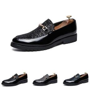 Mens Wedding Slip On Leather Sequin Business Pointy Toe Clubwear Shoes loafers D