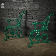 More details for pair of green coalbrookdale design cast iron bench ends with hound and serpent