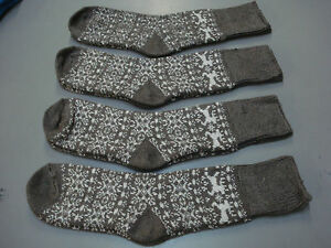 NWOT Women's Merino Wool Blend Socks Shoe Size 6-9 Taupe w/ Design 4 Pair #7E