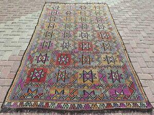 "Large Rug, Vintage Turkish Kilim Rug, Kelim, Area Rug, Carpet, Teppiche 59""X105"""