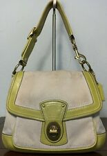 Coach Legacy Ivory Lemon Green Canvas Leather Slim Flap Shoulder Handbag 10828