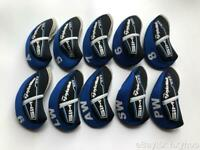 10PCS Golf Club Headcovers for Taylormade Sim Max Iron Covers Blue&Black 4-LW