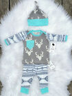 Newborn Baby Girls Boy Deer Tops T-shirt Pants Leggings Hat 3pcs Outfits Set