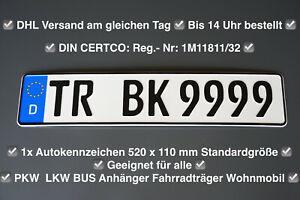 1x Kennzeichen ✅ 520x110mm ✅ Autokennzeichen ✅ Für alle KFZ PKW AUTO 🌟🌟🌟