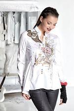 Mehrfarbige hüftlange Damenblusen, - tops & -shirts im Blusen aus Baumwolle